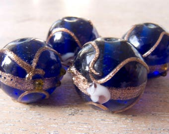 Vintage Venetian Style True Cobalt Large Wedding Cake Beads 16mm - Lot of 4