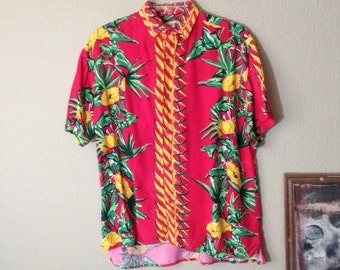 Vintage 80s red california poppy hawaiian print blouse ~ button down ~ rockabilly