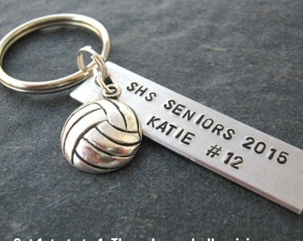 Personalized Volleyball Keychains, Senior gifts, Volleyball gifts, Volleyball charm, choose your sport, bulk pricing, sports, team, coaches