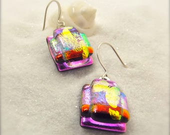 Pink dichroic glass earrings, fused dichroic beads, dichroic cabochons, butterfly earrings, feminine jewelry, hana sakura designs, unique