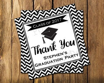 Printable Graduation Black Chevron Gift Tags
