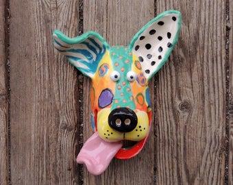 Small Dog Mask Ceramic Wall Hanging Handmade by Dottie Dracos, Wild Wild Things; ceramic dog mask dog mask, 313175