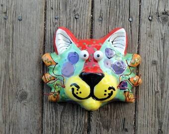 Original Handmade Ceramic Cat mask with Cat Eyes, Ceramic Cat, Cat Mask, Ceramic Animals, Cat Art by Dottie Dracos, 519173