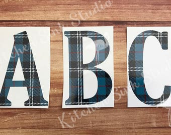 Single Letter Initial Monogram Decal ~ guy prints ~ Father's Day, Graduation ~ letter, print, size choice! permanent sticker, tumbler, car