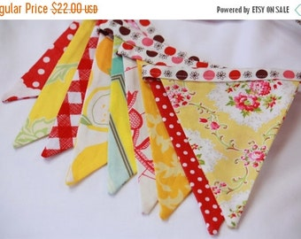 ENTIRE Store On SALE Shabby Chic AS Shown Flag Bunting in Red and Yellow. Flag Banner Photo Prop, Parties, Wedding Decor, Birthday Decoratio