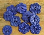 FREE SHIPPING Set of 10 Handmade Ceramic Buttons - Cobalt Blue
