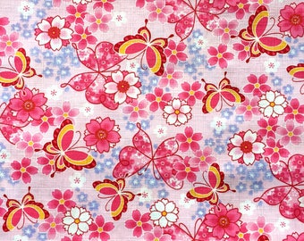 Japanese Fabric - Cotton Fabric -  1 Yard - Pink Fabric -  Cherry Blossoms Fabric - Butterfly Fabric - 110 cm x 100 cm (F42-P2)