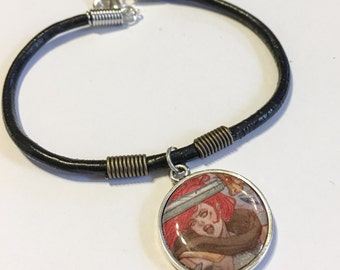 Recycled comic book charm bracelet Red Sonja swordswoman inspired