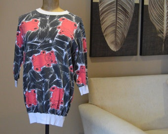 BIJO sweatshirt 80's size small - Large due to make,pop art,Red Bears on Black and White,Fairy Kei, Abstract, New york, Oversized, Tunic