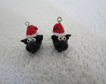 Black Pig in a Santa Hat Original Handmade Cute Christmas Pig Earrings 1 pr by Shannon Ivins