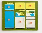 Rare vintage 60s 70s Kitchen Units Wooden Puzzle Galt Toys Rare