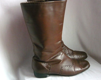 Genuine 60s MOD GoGo Ankle Boots size 9 .5  Eur 41 Uk 6 .5  LEATHER Fleece Lined WINTER  Beatles Brown Wing Tip Vlv