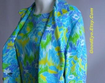 Vintage 60s LINEN Coat and Dress Suit / size 6 8 10 / MOD Flower Power Blue Yellow Green Pastel / Paisley Short Sleeve Shift