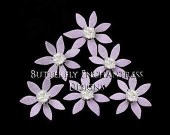 Bridal Hair Flowers, Lavender Purple Wedding Accesories, Bride Hair Pins Hair Piece Headpiece - 12 Lilac Isla Mini Star Flowers - Rhinestone