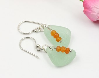 Sea glass earrings - Sea glass jewelry - Boho earrings - Boho style - Carnelian jewelry - Gift for mom - Valentines gift - Mothers day gift