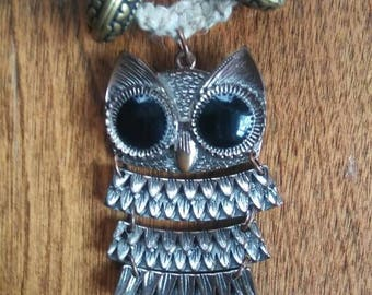 Natural Hemp with Brass Owl Pendant