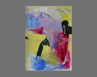 Print from abstract painting, small, bold abstract, lemon, raspberry, lilac, dark brown, blue, olive, A6 to A3 size