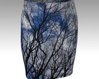 Tree branch blue skies fitted pencil skirt stretchy bodycon size xs s m l xl unique printed skirt photo sublimation bare branch trees