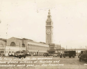 vintage photo 1930s Ferry Tower Clock RPPC San Francisco