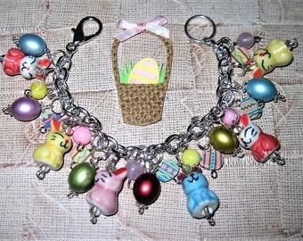 Easter Charm Bracelet, Easter Bunny Bracelet, Easter Bracelet, Easter Eggs, Bunny Jewelry, Easter Jewelry, Easter Rabbits, Easter Bunny
