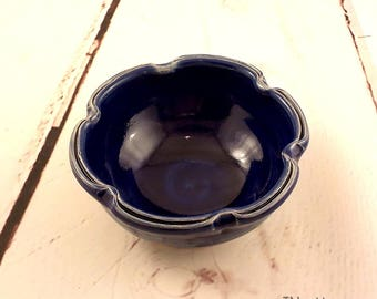 Ceramic Bowl - Split Rim Candy Dish - Fluted Rim Ice Cream Bowl - Royal Blue with Cerulean Green - Condiment Server - Ready to Ship b384