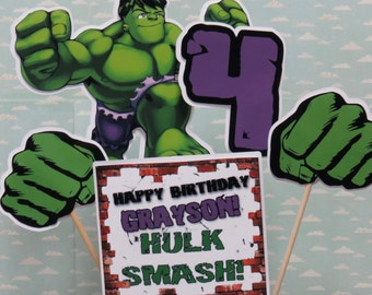 The HULK Centerpiece Set of 5 with custom Name in Text HULK SMASH