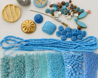 Freeform Peyote Stitch Bracelet Kit. (Or let your imagination run away with it!) Blue Turquoise. BTA.