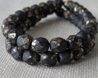 Matte Jet Gold Dust Czech Glass Bead 6mm Faceted Round : 25 pc 6mm Black Gold Round