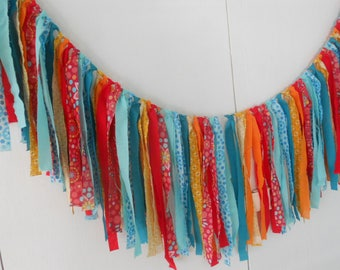 Rag Tie Garland, Rag Fringe, Fabric Garland, Pioneer Woman, Nursery, Shower, Tea Party, Shabby Chic Garland Farmhouse Wedding Photo Prop