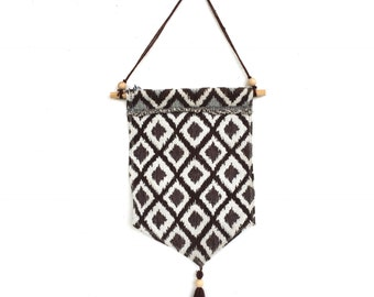 CLOSING DOWN SALE Brown Ikat Aztec Tribal geomatic fabric wall hanging pennant bunting banner decoration