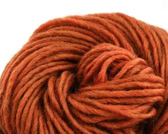 Brunswick Hand Dyed chunky weight 70/30 Corriedale wool Mohair blend yarn 140 yds 4oz Terracotta