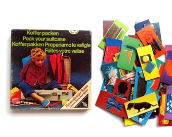 Vintage 1970s Ravensburger Memory Picture Game - Pack Your Suitcase 70s Picture Flash Cards West Germany
