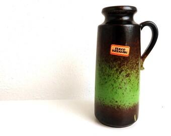 "Vintage 8"" West Germany Scheurich Art Pottery Vase, Mid Century Modern Home 201-20 Europ Keramik, W German Ceramics Brown Green Pitcher Jug"