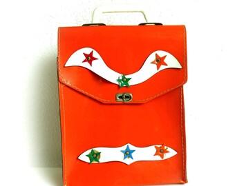 Vintage Leather Handbag Briefcase, Dutch Design, Orange Western Cowboy Stars, Kids Dress Up Bag, Handmade de Man-Melis Bag