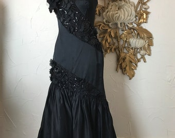 Fall sale 1980s black gown 80s cache formal size small Vintage mermaid gown silk strapless