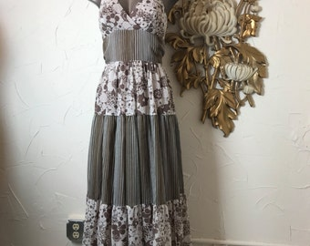 Fall sale 1970s dress brown dress maxi dress halter dress size small Vintage dress bohemian dress young innocence