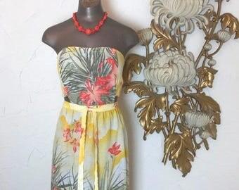 Fall sale 1970s dress strapless dress size small topical dress backless dress tiki dress wrap dress cotton dress