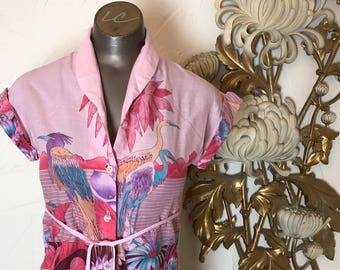 1980s blouse tropical blouse button up shirt size x small vintage blouse pink blouse 1970s shirt