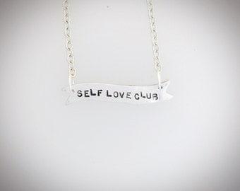 Self Love Club Banner Necklace- feminist jewelry-feminist necklace -vegan necklace-girl gang- bestie-gift-vegan gift- birthday-anniversary