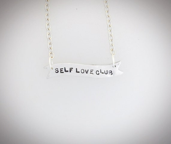 Self Love Club Banner Necklace- feminist jewelry-feminist necklace -vegan necklace-girl gang- bestie-gift-vegan gift- birthday-anniversary