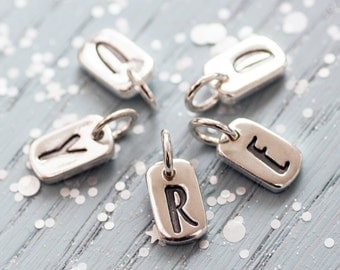 Mini Tag Initial Charm, tag initial charm, letter charm, alphabet charm, monogram charm, initial necklace, gift for her, bridesmaid gift