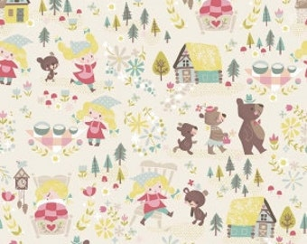 Goldilocks - By Jill Howarth - For Riley Blake - Bears - Cream - One Yard - 10.95 Dollars