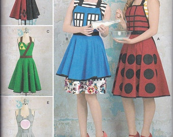 Simplicity 8279 Misses Cosplay Apron Tardis Harley Quinn Tri Force Zelda Link Companion Cube Portal Sewing Pattern Sizes S-L New UNCUT