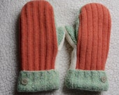 Sale! Oops! Wool mittens, fleece lined, made from upcycled wool sweaters, tangerine