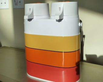 Double thermos double pump glass insert orange yellow red 70s