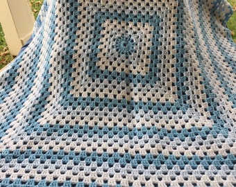 Shades of Blue and White Baby Afghan