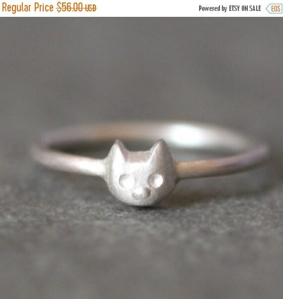 30% OFF WINTER SALE Baby Kitten Ring in Sterling Silver