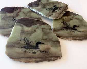 Agate Slice Coasters, Vintage, with Loons. Real Rock Slice Coasters, Large. Pale Green Brown.
