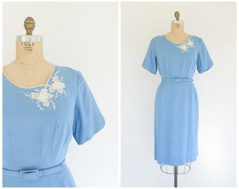 vintage 1960s Méndel light blue linen blend day dress | 60s linen dress | vtg lt. blue dress | small