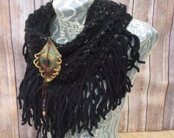 Charcoal Peacock cowl... knit crocheted fringed yarn soft scarf leather tie bohemian boho